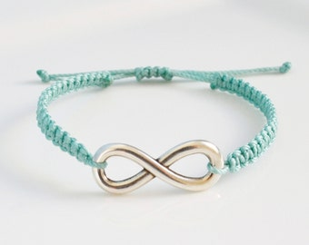 Infinity Bracelet / Makrame knot bracelet / Friendship Bracelet / Bridesmaid Gift with infinity charm
