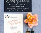 Blue and Pink Rose Flower Wedding Invitation Printable