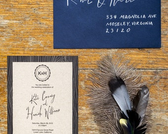 Woodland Monogram Wedding Invitation Template