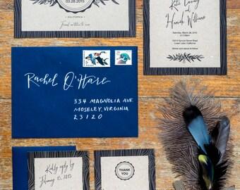 Set of 4 Printable Template, Rustic Woodland Monogram Wedding Invitation Suite