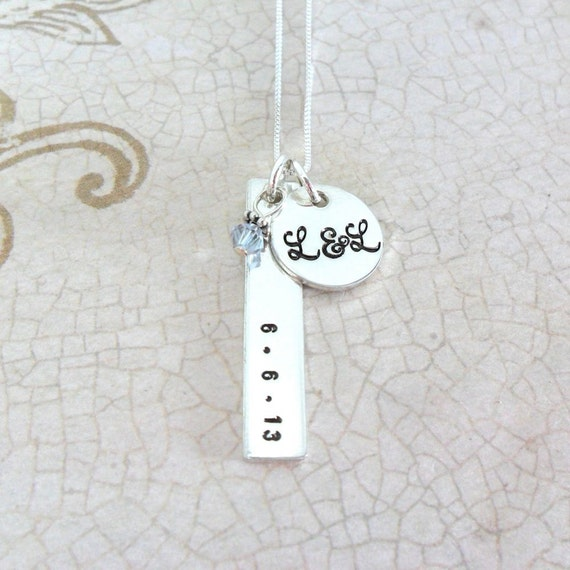 Initial Necklace | Wedding Date | Couple's Initials | Wedding Gift | Gift for Wife | Gift for Fiancee | Gift for Girlfriend | Sterling