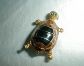 joan rivers turtle pin brown black enamel green crystals gold plated sweet turtle jewelry vintage jewelry turtle jewelry jr brown black gold