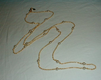 nolan miller pearl stations necklace gold plated sautoir vintage jewelry long necklace nolan miller pearl necklace elegant bridal wedding