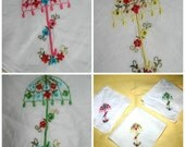 Vintage Handkerchief Set Umbrella Embroidered Hankies Bright Spring Colors April Showers Umbrellas Set of 3 Lovely Gift for Her