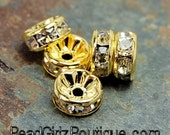 Gold Rhinestone Beads, Grade AAA, Gold Metal Color, Rondelle, Crystal, 8x3.8mm-10
