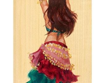 Belly Dance Bellydancer Gypsy fantasy medieval renaissance art painting print 8 x 17 - Brandy Woods