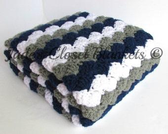 Crochet Baby Blanket, Baby Blanket, Navy Blue, White, and Grey, Gray, Crochet Blanket, stroller, travel, pram size