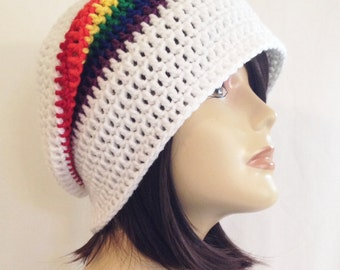 long slouch,beanie,slouch beani,cap,hat, hand crochet unisex, white & rainbow, fits teens and adult size fits 21-23 inches