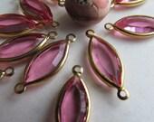 Vintage Rose Glass  Leaf Connector beads