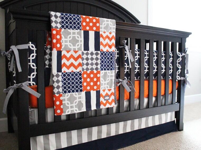 Boy nursery bedding set orange navy blue gray crib bedding - Navy blue and orange bedding ...