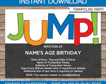 Trampoline Invitation Template - Birthday Party - INSTANT DOWNLOAD with EDITABLE text - you personalize at home