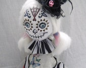 Ooak Art Doll Day Of The Dead Sugar Skull Doll - Angel - Hand Made Whimsical Fun