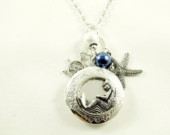 Silver Locket Necklace,  Mermaid and Compass Locket With Pearls And Charms  Womens Gift  Handmade