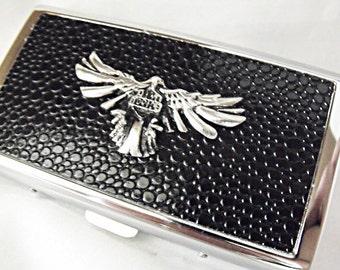 Cigarette Case Holder Or Metal Wallet,  Silver Eagle  Mens Gift  Handmade