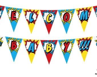 "Superhero-Themed ""Welcome Baby"" Printable Banner"