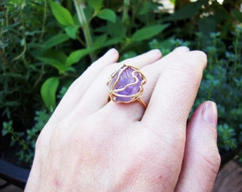Gold plated wire wrapped raw chunky amethyst ring made to order