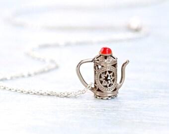 Coffee Pot Necklace - Antique Miniature Pitcher - Ornate Filigree - Souvenir from Morocco