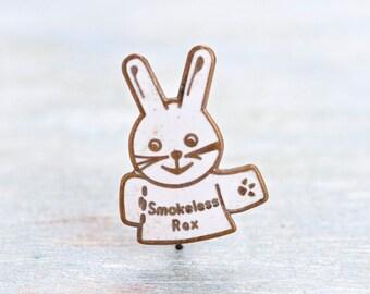 Smokeless Rex Badge - Vintage Enamel Bunny Lapel Pin - ca 1960s Rexco (Mansfield) Ltd promotional
