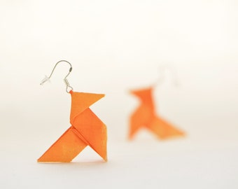 Orange origami earrings - sterling silver hooks  and silk