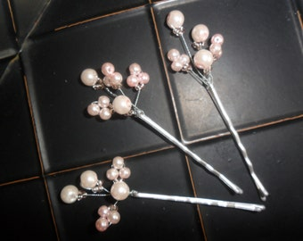 blush pink hair pin, bridal hair pin, wedding hair accessory, bridesmaid hairpiece, pearl hair pin, pink hairpiece, YOUR CHOICE COLOR