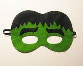 Green Hulk superhero felt mask - childrens comic costume for boys and girls - soft felt Dress Up play - photo prop accessory