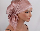 Silk Charmeuse Tichel, Wild Rose Hair Snood, Head Covering Scarf Bandana, Chemo Wrap, Sinar or Apron Tichel, Jewish Head covering