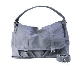 ASHTON B // Dark Grey / Lined with Grey Stripes / 061B // Ship in 3 days // Messenger Bag / Diaper bag / Shoulder bag / Tote bag / Gym bag