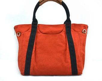 HOLLY // Burnt Orange with Black Handle / Lined with Grey Stripes / 086 // Ship in 3 days // Diaper bag / Shoulder bag / Tote bag / Gym bag