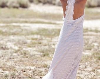 "Bohemian Wedding Dress 1970s Bohemian Hippie Racer Back Lace Dress- ""Zola"""