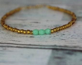 Gold/Mint Beaded Bracelet