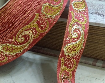 """1"""" Vintage French Red Jacquard ribbon trim Brocade with Golden yellow and Metallic Gold Paisleys  #183-02"""