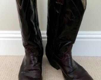 Vintage 80'S Dark  Burgundy Cowboy Boot 8M