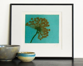 Original Etching Print CARROT FLOWER Garden Home Fine Art Printmaking Kitchen Shabby Decor Hand Pulled 3 colors 11x10