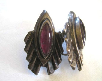 Vintage Mexican Earrings Silver Amethyst Screwback Sleek Design Abstract Flower Art Deco Styling Architectural Linear