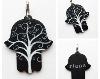Personalized Hamsa Key Chain, Rear View Mirror Car Charm with Curly Tree of Life - Black and White