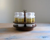 Vintage Milk Glass Spice Jars Set