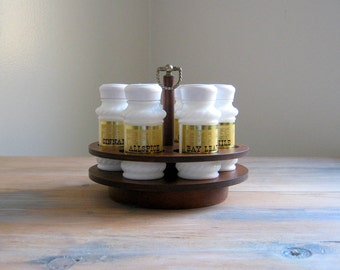 Vintage Milk Glass Spice Jars Set