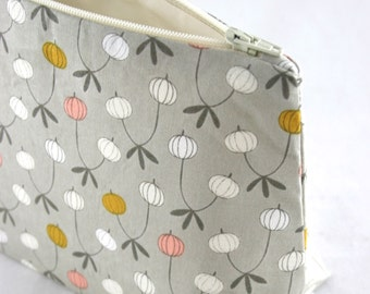 Makeup Bag / Cosmetic Bag in Gray Floral Print - Christmas Stocking Stuffer , Whimsical Bridesmaid Gift, Baby Shower, Bridal Shower