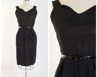 Vintage 50s Dress • Everything Exquisite • Black Rayon Linen 1950s Vintage Dress Size Medium