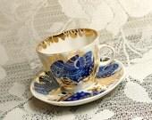 Vintage Blue Lomonosov Cup and Saucer