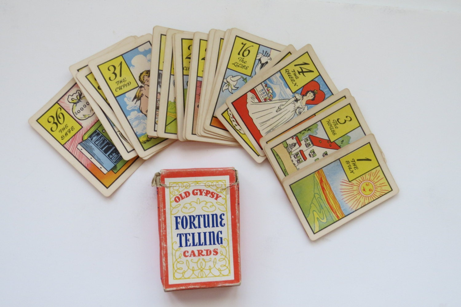 Vintage Old Gypsy Fortune Telling Cards with by ...