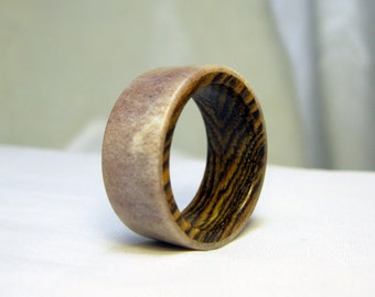 Antler Ring with Wood Lining