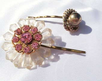 Rhinestone Flower Hair Pins