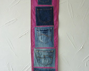 Denim pocket wall tidy - recycled jeans - wall hanging - Jeans pockets - teenager