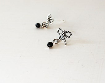 Silver bow stud earrings, Small dangle bow studs, Cute bow earrings, Cute dangle earrings, Black crystal earrings, Black drop bow earrings