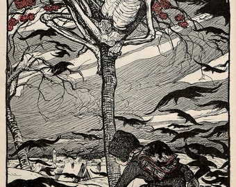 Jugend Magazine Image (1897) Skeleton in Tree ~ NEW 8x10 Art Print Reproduction