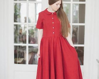 Red Maxi Dress, Linen Women Clothing, Maxi Dress, Peter Pan Collar Dress, Red Dress, Classic Short Sleeves Dress, Preppy Dress, Lounge Dress