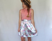 SALE: Size Small Mirrored Floral Satin Pleated Skirt
