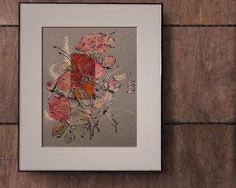 Dark red peonies - grey, black, bronze, orange, brown, red, silver, oxblood - Painting on paper and silk - original botanical art - OOAK