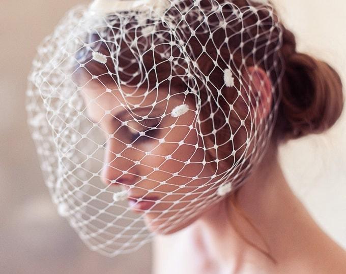 Ivory dotted birdcage veil, polka dot veil, polka dot birdcage veil, bow veil, cage veil, wedding veil, blusher veil, chenille polka dots